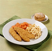 Breaded chicken tenders with macaroni and carrots; scone