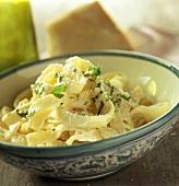 Tagliatelle al parmigiano (Ribbon pasta with cheese & parsley)