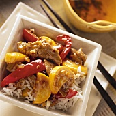 Stir-Fry Pork on a Bed of Rice