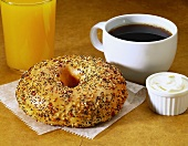 Everything Bagel with Cream Cheese; Coffee and Juice