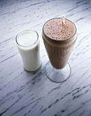 Glass of Milk with a Chocolate Milkshake