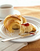 Croissant with Strawberry Jam; Coffee
