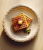 Blueberry Waffles with Syrup and Butter