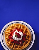Belgian Waffle with Strawberries; Whipped Cream