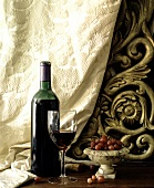 Italian still life with red wine and gooseberries