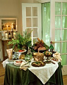 Italian buffet with antipasti, bread and wine
