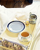 Breakfast tray with tea in bed