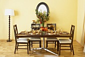Table Set For Thanksgiving in Dining Room