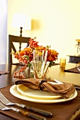 Holiday Place Setting with Floral Centerpiece