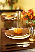 Table Set with Gourds for Thanksgiving Dinner