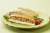 White and Milk Chocolate Dipped Biscotti on a Plate