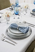 Place Setting on a Dining Table Set for Hanukkah