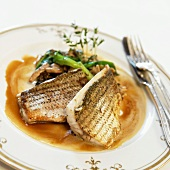 Plate of White Fish Fillets with Vegetables