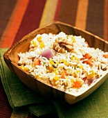 Sqaure Wooden Bowl of Jasmine Rice with Vegetables and Walnuts