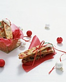 Fruitcake Biscotti Wrapped for Christmas