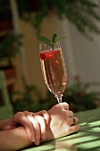 Woman's Hands Holding a Raspberry Spritzer with Raspberry and Mint Garnish