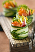 Salmon and Vegetable Salad Wrapped in a Cucumber Cup