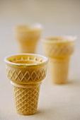 Three Empty Sugar Ice Cream Cones