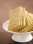 Many Whole Graham Crackers on a Pedestal Dish