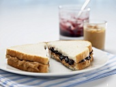 Peanut Butter and Jelly Sandwich Cut in Half on a Plate, Peanut Butter and Jelly