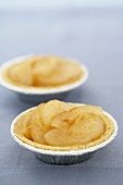 Two Mini Pie Tins Filled with Apple Pie Filling