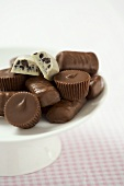 Assortment of Bite-sized Chocolates on a Pedestal Dish