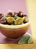 Bowl of Mixed Olives with Sage Leaves
