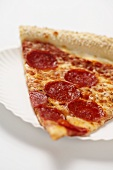 Close Up of a Slice of New York City Style Pepperoni Pizza