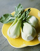 Three Stalks of Baby Bok Choy on a Yellow Plate