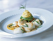 Seared Scallops on a Plate Topped with Chives