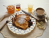 French Toast and Sausage Breakfast with Coffee, Juice, Syrup and Marmalade