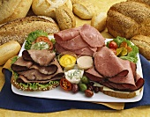 Cold Cut Platter with Roast Beef, Pastrami and Corned Beef; Fresh Bread and Condiments