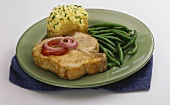 Pork Chop with Green Beans and a Twice Baked Potato