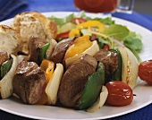 Beef Kabobs with Onions, Belll Peppers and Tomatoes