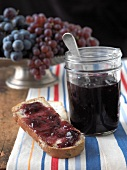Grape Jelly on a Piece of Toast, Jar of Grape Jelly, Grapes