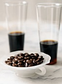 Bowl of Coffee Beans, Two Glasses of Dark Coffee