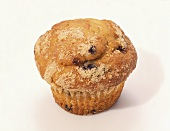 Close Up of a Blueberry Muffin on a White Background
