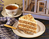 Piece of Hummingbird Cake with a Cup of Tea