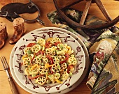 Rotelle Pasta with Red and Yellow Bell Peppers and Lima Beans; Western Decorations