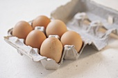 Half Dozen Brown Eggs in Cardboard Carton