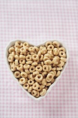 Heart Shaped Bowl of Toasted Oat Cereal