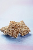 Three Pieces of Shredded Wheat Cereal, Close Up