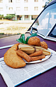 Assorted deep-fried foods on a car (Mexico)