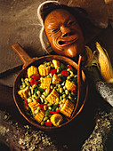 A Bowl of Succotash with a Mohegan Mask