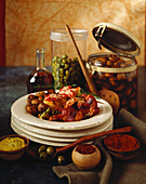 Spanish Tapas with Shrimp and Olives