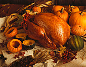 Roast Turkey and Squash with Autumn Leaves