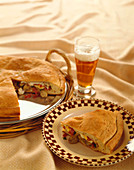Pizza Rustica with Beer