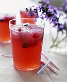 Pink Lemonade with Fresh Berries and Ice