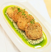 Panko Fried Oysters with Chive Oil