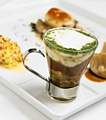 Lobster Chowder in an Glass Espresso Mug with other Assorted Small Lobster Dishes